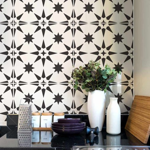 Stenciled-tile-backsplash-tiles-stencils-tile-stencil
